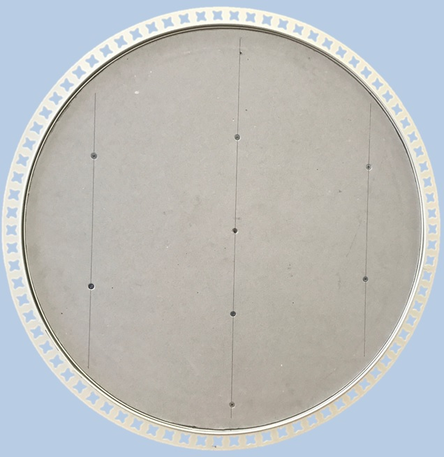 circular access panel with beaded frame open